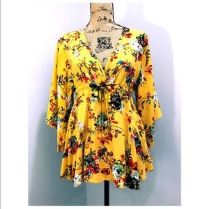 Tops - Yellow Floral Top Kimono Sleeves